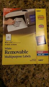 Avery 6465 White Removable Multipurpose Labels Full Sheet Labels 25 Labels