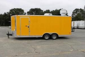New 8 5x20 Yellow Bbq Concession Or Food Vending Trailer