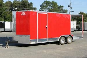 New 8 5x20 Red Bbq Concession Or Food Vending Trailer
