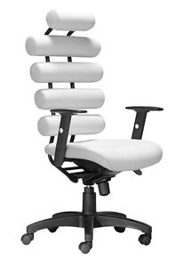 Modern Design High Back Executive Office Conference Chair In White Leatherette