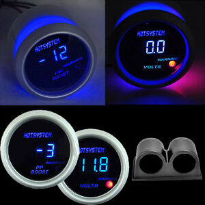 Car 2 52mm Digital Led Voltage Voltmeter Volt Gauge boost Gauge With Holder