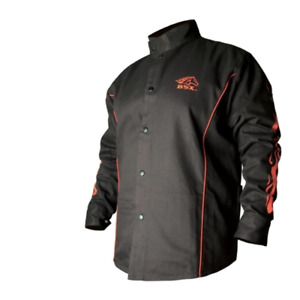 Revco Bx9c xl Bsx Flame resistant Welding Jacket Black With Red Flames Size X