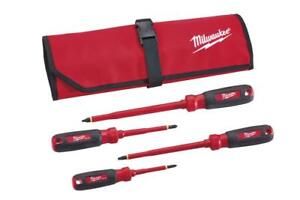 Milwaukee 48 22 2204 4 piece Insulated Screwdriver Set With Roll Pouch