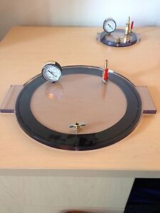 1 Gal Vacuum Chamber Lid 8 Diameter Polycarbonate Complete And Ready Degassing