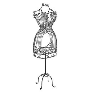 57 Vintage Metal Wire Dress Form Mannequin Dressmaker Display Rack Stand Black