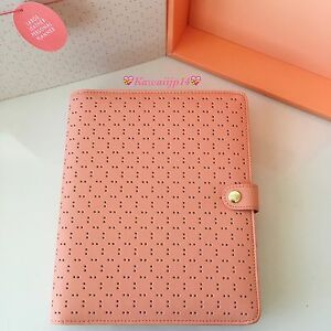 Bnib Kikki K Perforated Leather Personal Planner Large Peach
