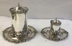 Pair Of Redlich Victorian Sterling Silver Covered Marmalade Jars