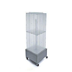 New Retails Clear Interlocking Pegboard Display On Wheeled Base