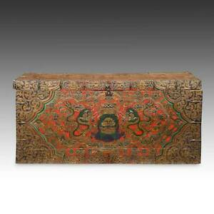 Rare Antique Trunk Painted Pine Wood Dragon Tibet Chinese Furniture 18th C
