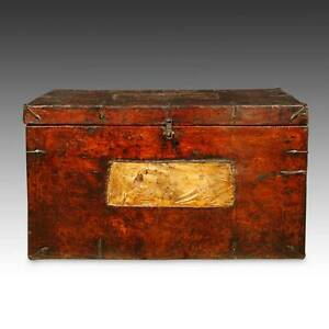 Rare Antique Trunk Painted Pine Wood Iron Tibet Chinese Furniture 18th C