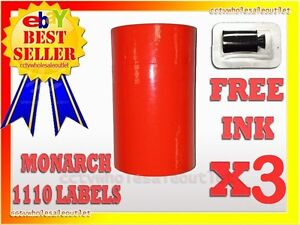 3 Sleeves Fluorescent Red Label For Monarch 1110 Pricing Gun 3 Sleeves 48rolls