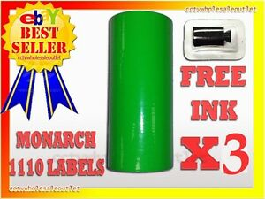 3 Sleeves Fluorescent Green Label For Monarch 1110 Pricing Gun 3 Sleeves 48rolls