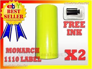 2 Sleeves Fluorescentyellow Label For Monarch 1110 Pricing Gun 2sleeves 32rolls