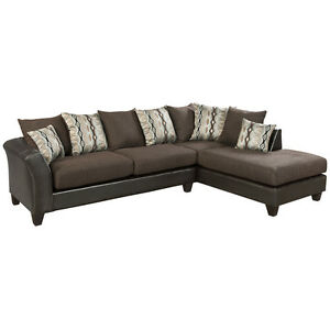 Contemporary Modern Sectional in Chocolate Fabric wSable Chenille Upholstery