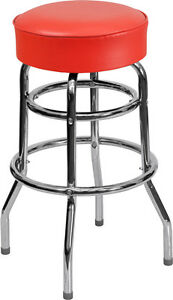 Commercial Quality Double Ring Chrome Bar Stool With Red Vinyl Upholstered Seat