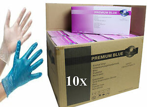 10x Boxes Disposable Vinyl Clear Blue Gloves Powder Free Food Medical Cleaning
