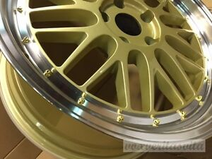 18 Lm Style Gold Mesh Lemans Wheels Rims Fits Audi B5 B6 B7 B8 S4 Sedan Avant
