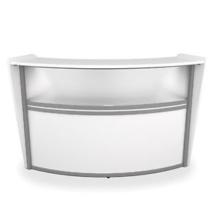Contemporary Reception Desk In White Finish With Plexi Glass And Silver Frame