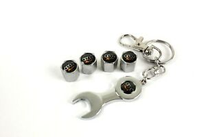 Chrome Tire Valve Cap With Wrench Key Chain For Audi