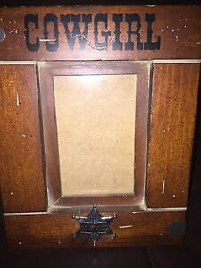 Vintage Antique Wooden Picture Frame Cow Girl Rare