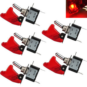 5pcs 12v Red Cover Led Toggle Switch Racing Spst On Off 20a For Car Atv