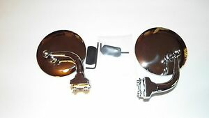 Pair 4 Curved Outside Door Peep Mirrors Hot Rod Ford Chevy Dodge Rat Rod