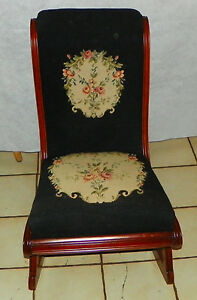 Solid Cherry Needlepoint Sewing Rocker Rocking Chair R204