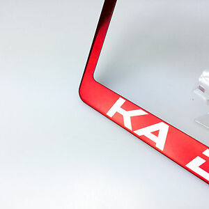 Red Chrome Custom Personalize Laser Engraved License Plate Frame Bracket Withcaps