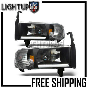 1994 2002 Dodge Ram 1500 2500 3500 Black Clear Lens Led Bar Headlights