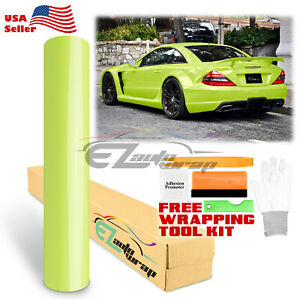 Gloss Glossy Lime Yellow Green Vinyl Car Wrap Sticker Decal Air Release Film