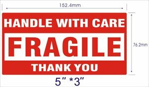 2 Rolls 500 roll 3x5 Fragile Shipping Labels stickers Handle With Care Thank You