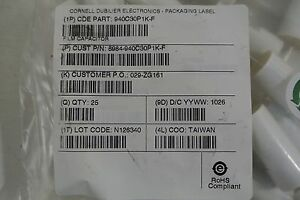 New In Bag Lot Of 24 Cornell Dubilier Electronics 940c30p1k f