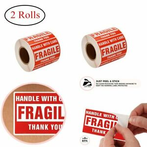 2 Rolls 500 roll 2x3 Fragile Stickers Adhesive Handle With Care Shipping Labels