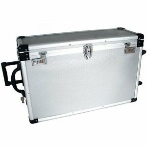 24 Trays Large Aluminum Rolling Jewelry Carrying Case New Free Shipping