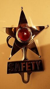 Chevy Ford Red Dot Vintage Safety Star Lighted License Plate Topper bomber Sled