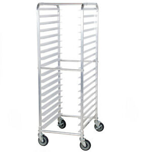 18 Pan Aluminum End Load Bakery Bun Sheet Pan Rack With Casters Unassembled