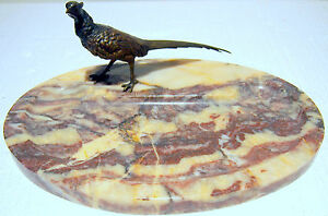 Bronze Marble Austria Bird Design 19 C Desk Top Piece Signed Elagant Details