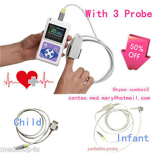 Contec Cms60d Oled Finger Pulse Oximeter With 3 Probes adult infant child ce fda