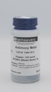 Antimony Metal Powder 100 Mesh 99 999 metals Basis Certified 5g