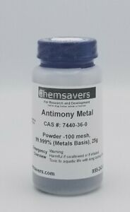Antimony Metal Powder 100 Mesh 99 999 metals Basis Certified 25g