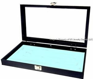 1 Glass Lid Key Lock Light Blue Pad Display Box Case Medals Pins Jewelry Knife