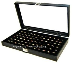 Wholesale Lot Of 6 Glass Top Lid 72 Ring Black Jewelry Display Box Storage Cases