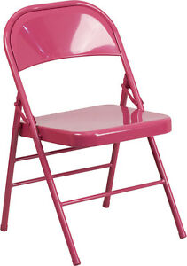 Metal Folding Chair Shockingly Fuchsia Color Triple Braced And Double Hinged
