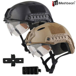 New Tactical Airsoft Paintball Military Protective SWAT Fast Helmet w Goggle