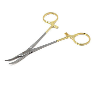 Surgical Mosquito Forceps 5 Hemostat Curved Dental Instruments Gold Handle