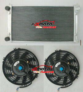 2 Core Aluminum Radiator 2x Fans For Vw Golf Mk1 Mk2 Gti scirocco 1 6 1 8 8v Mt