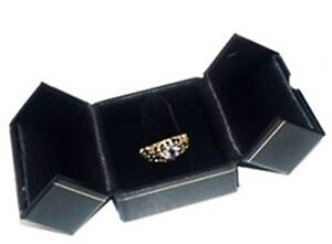 Lot Of 12 Black Double Door Ring Finger Jewelry Display Presentation Gift Boxes