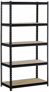 Office Heavy Balck Steel 5 Adjust Shelf Storage Organizer Rack Warehouse Garage