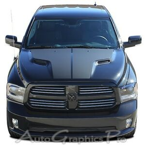 For 2009 2017 Dodge Ram Hemi Hood Solid Blackout 3m Graphic Decals Stripes