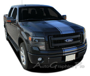 2009 2014 Center Hood Racing Vinyl Graphics Kit Decals Stripes Fits Ford F 150
